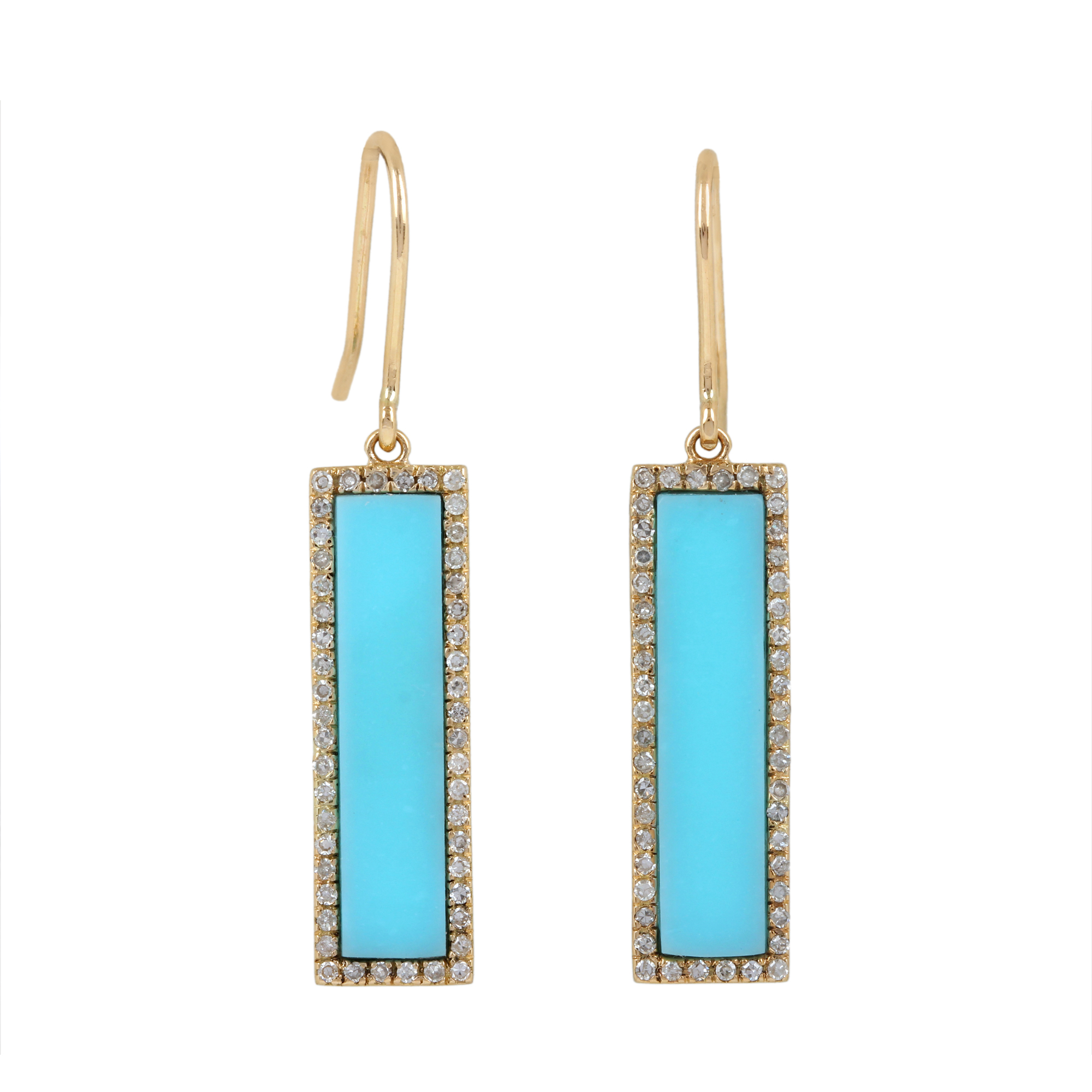 14K Solid Yellow Gold Turquoise Dangle Earrings Pave Diamond Jewelry