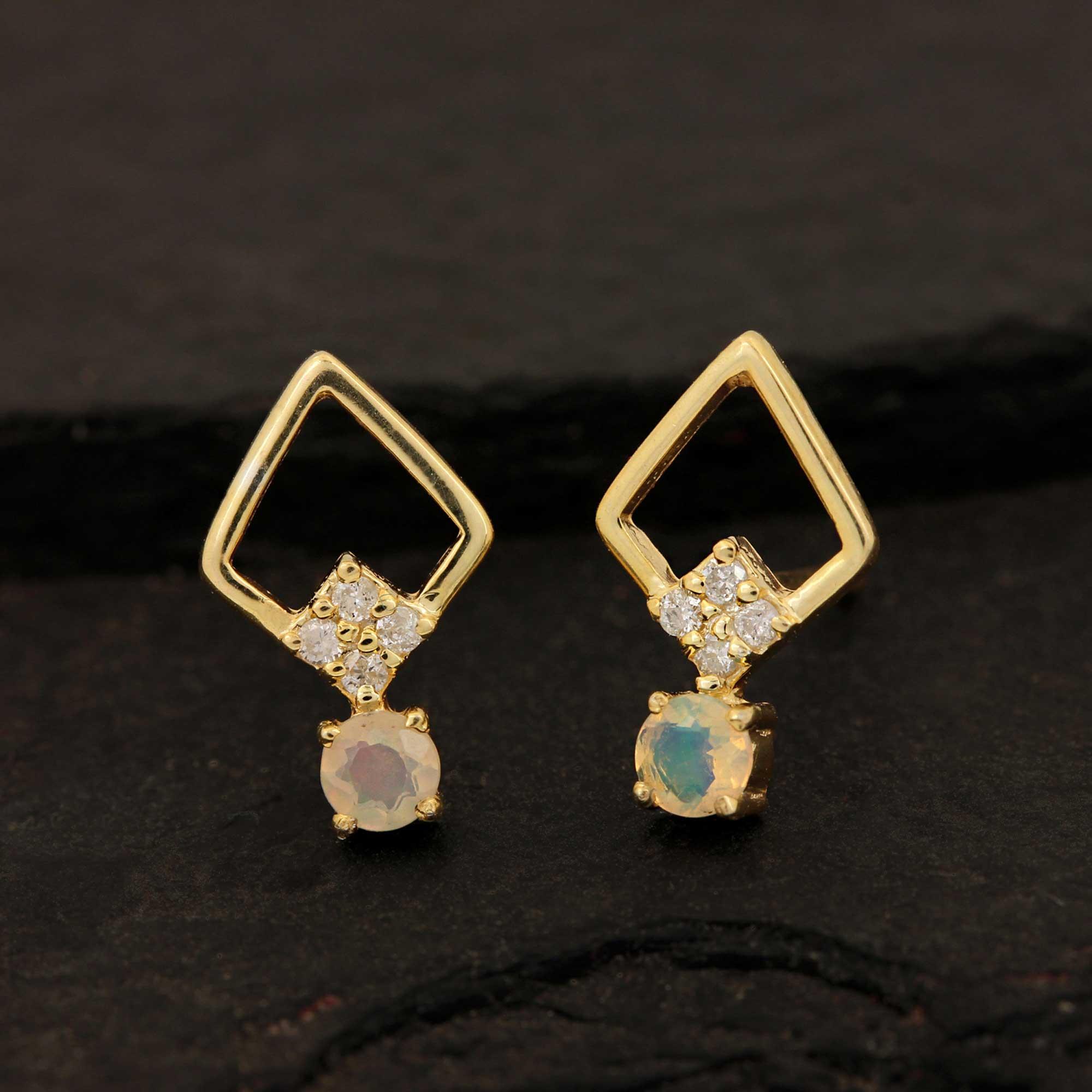 14k Solid Gold Diamond Opal Minimalist Stud Earrings