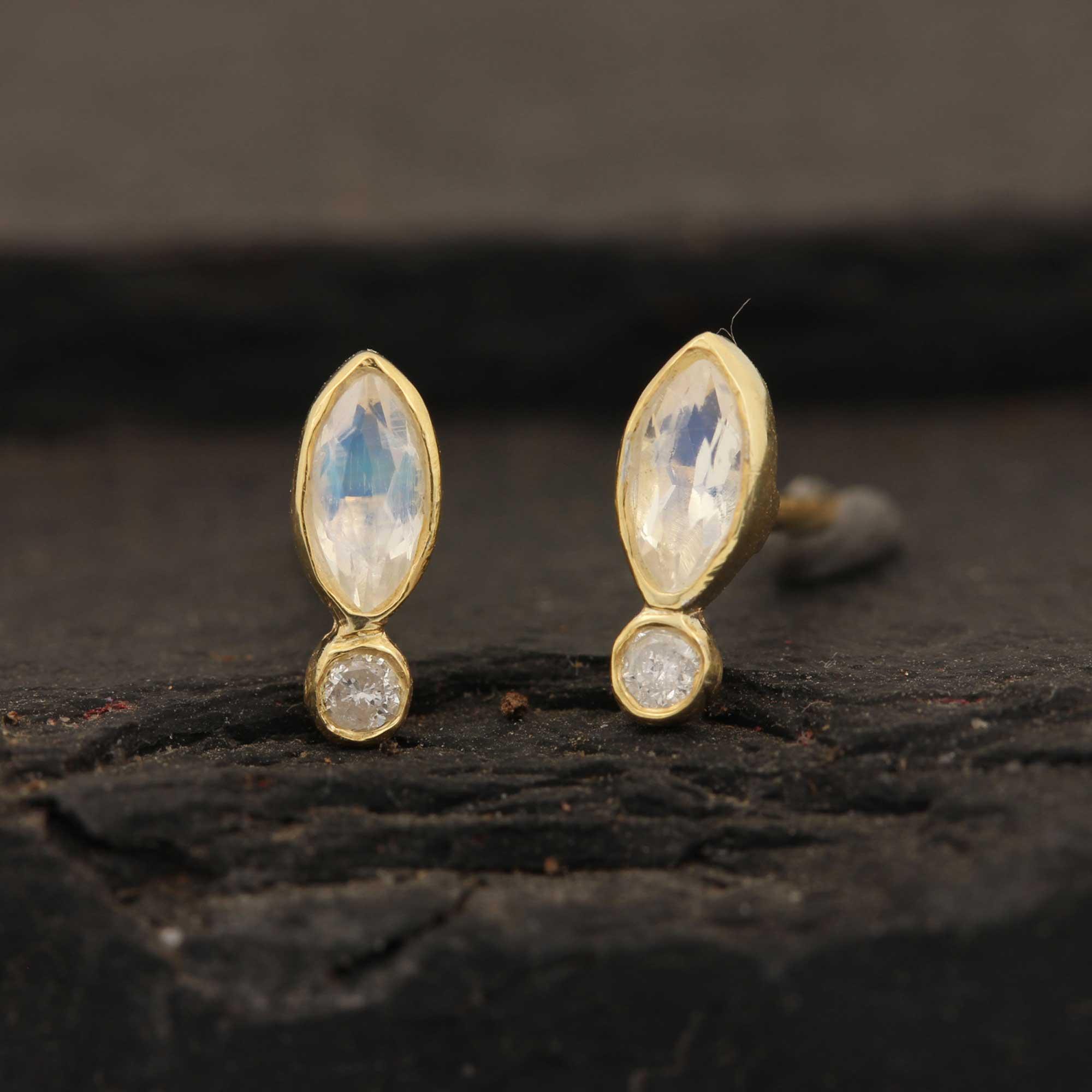 14k Solid Gold Diamond Rainbow Moonstone Stud Earrings