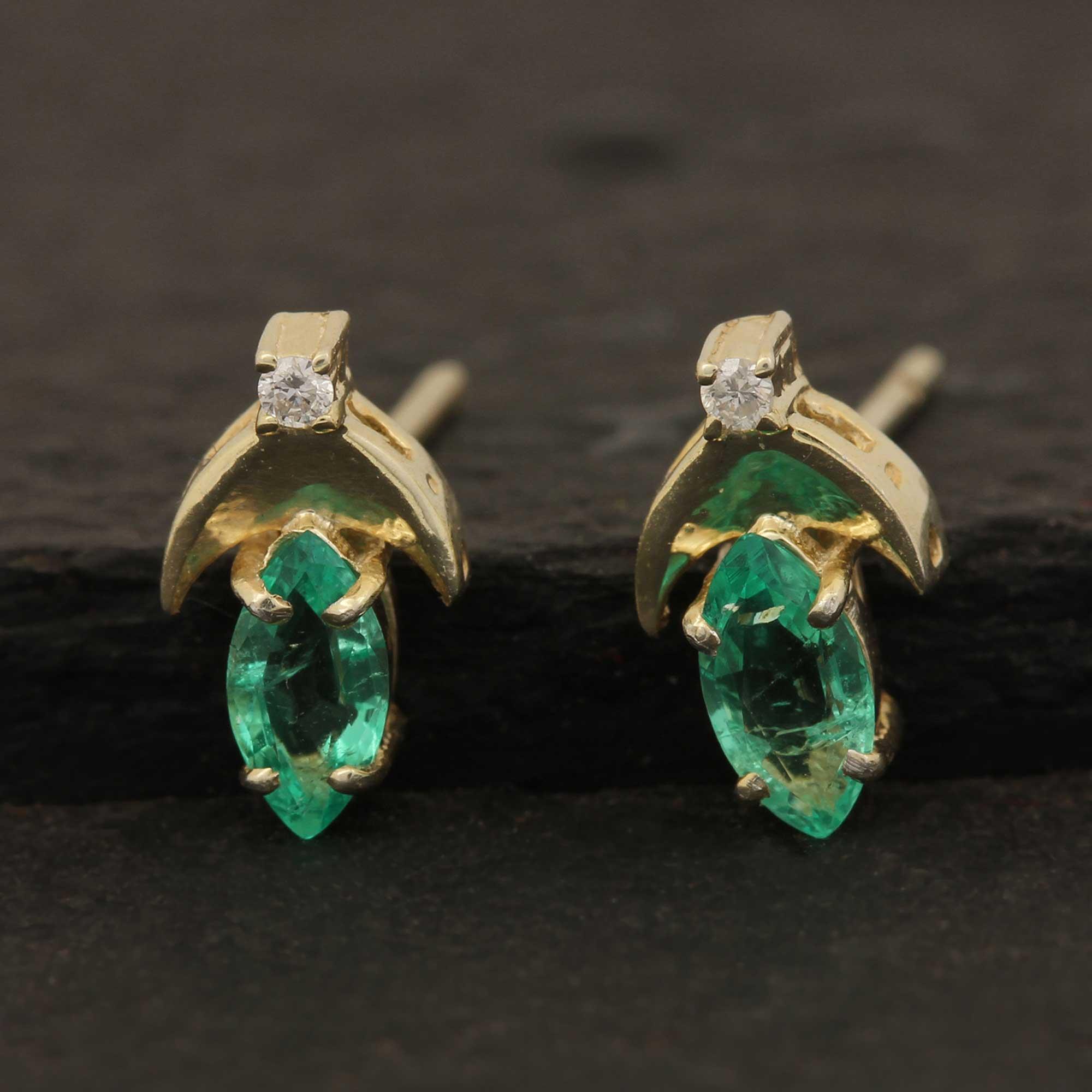14k Solid Gold Diamond Natural Emerald Gemstone Stud Earrings