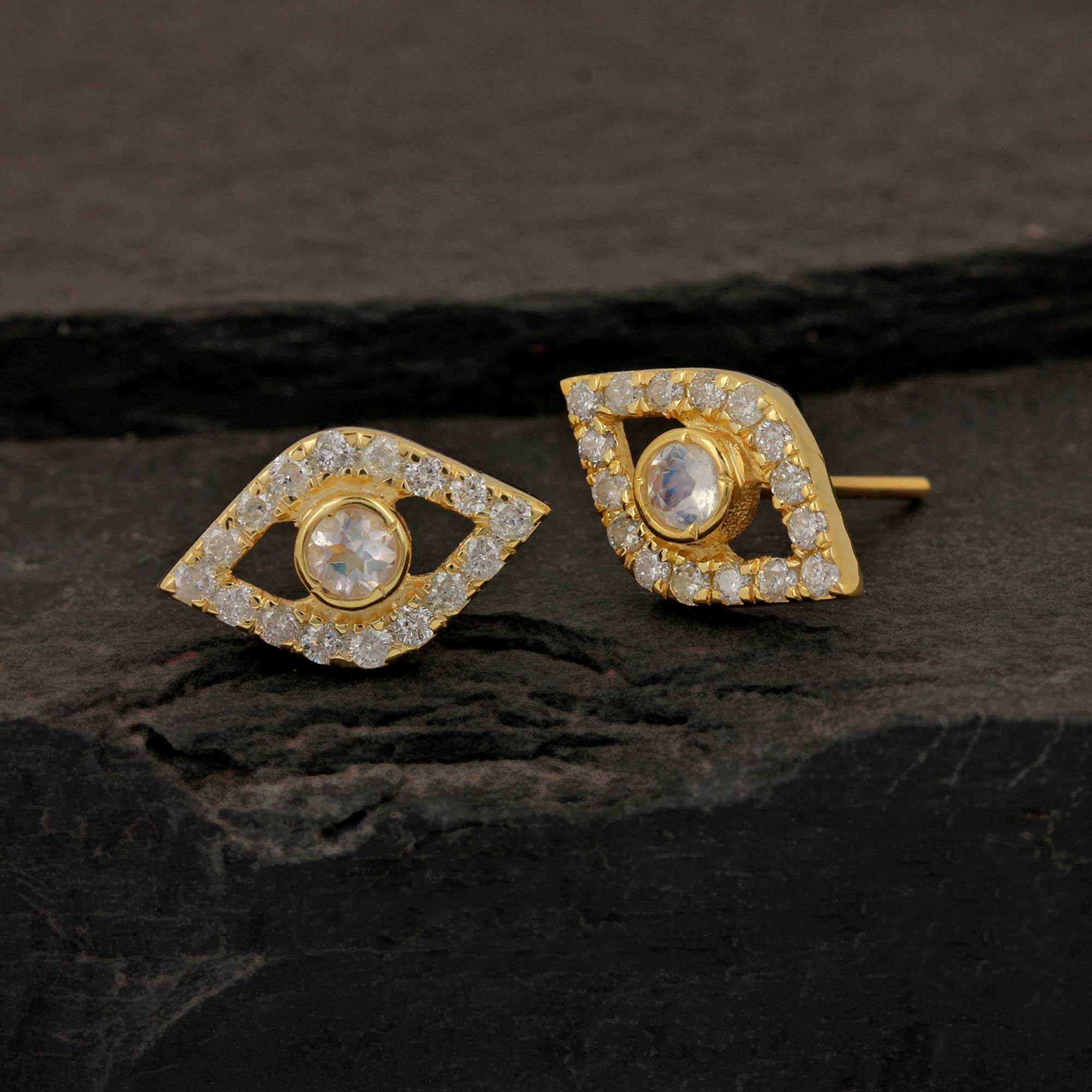14k Solid Gold Diamond Natural Moonstone Solitaire Evil Stud Earrings