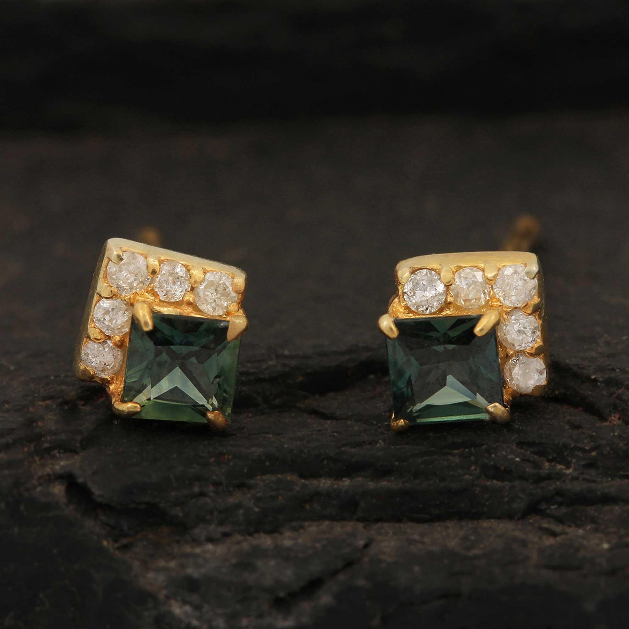14k Solid Gold Natural Diamond Green Sapphire Minimalist Stud Earrings
