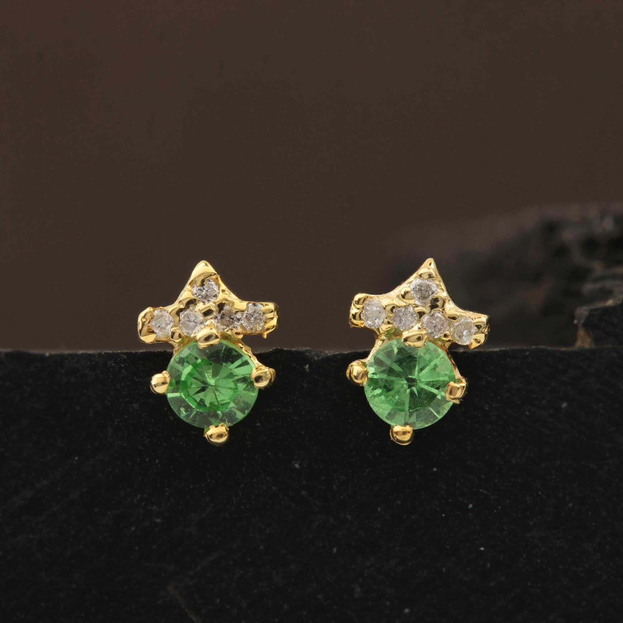 14k Solid Gold Natural Diamond & Tsavorite Solitaire Stud Earrings