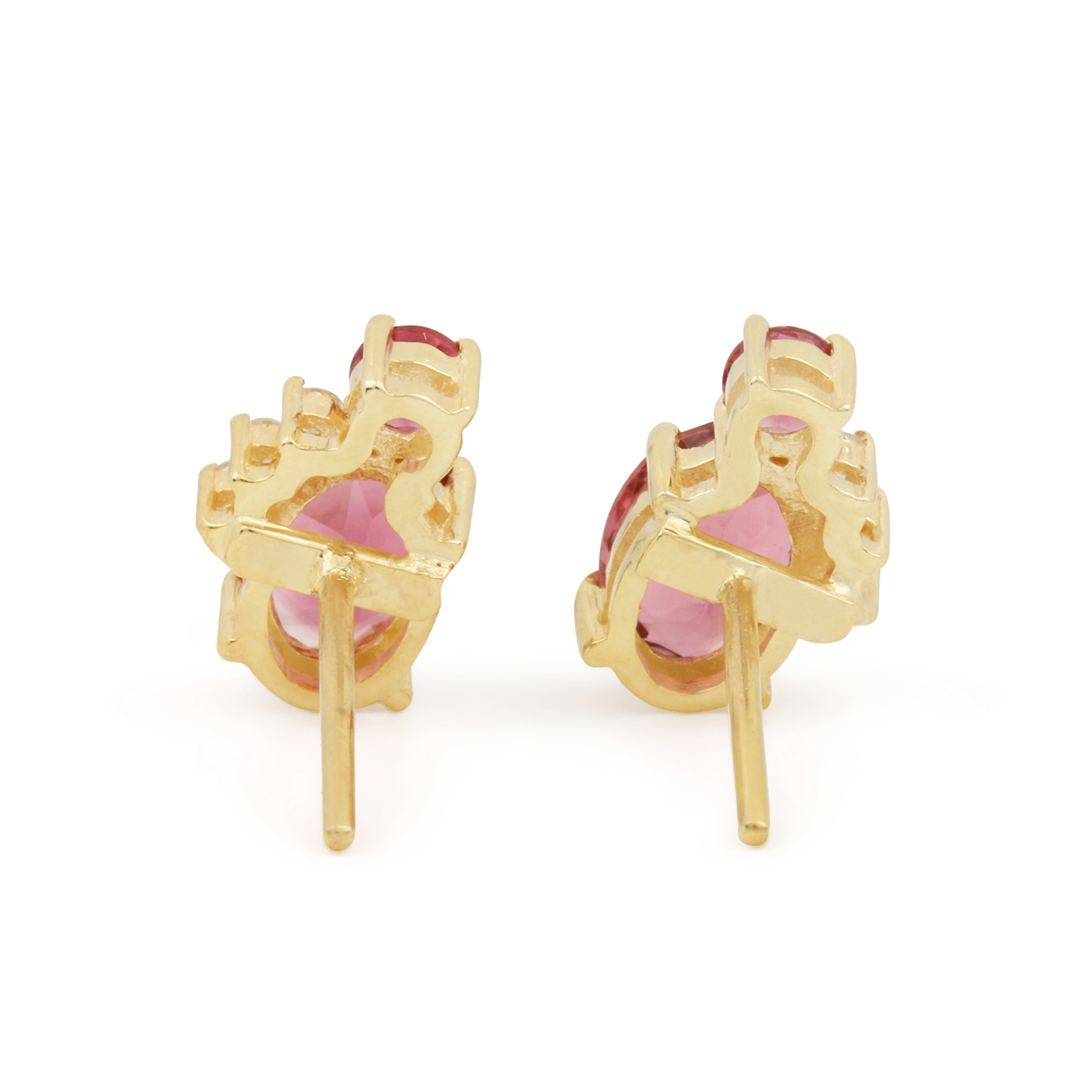 14k Solid Gold Stud Earrings Adorned With Diamond & Pink Tourmaline Gemstone