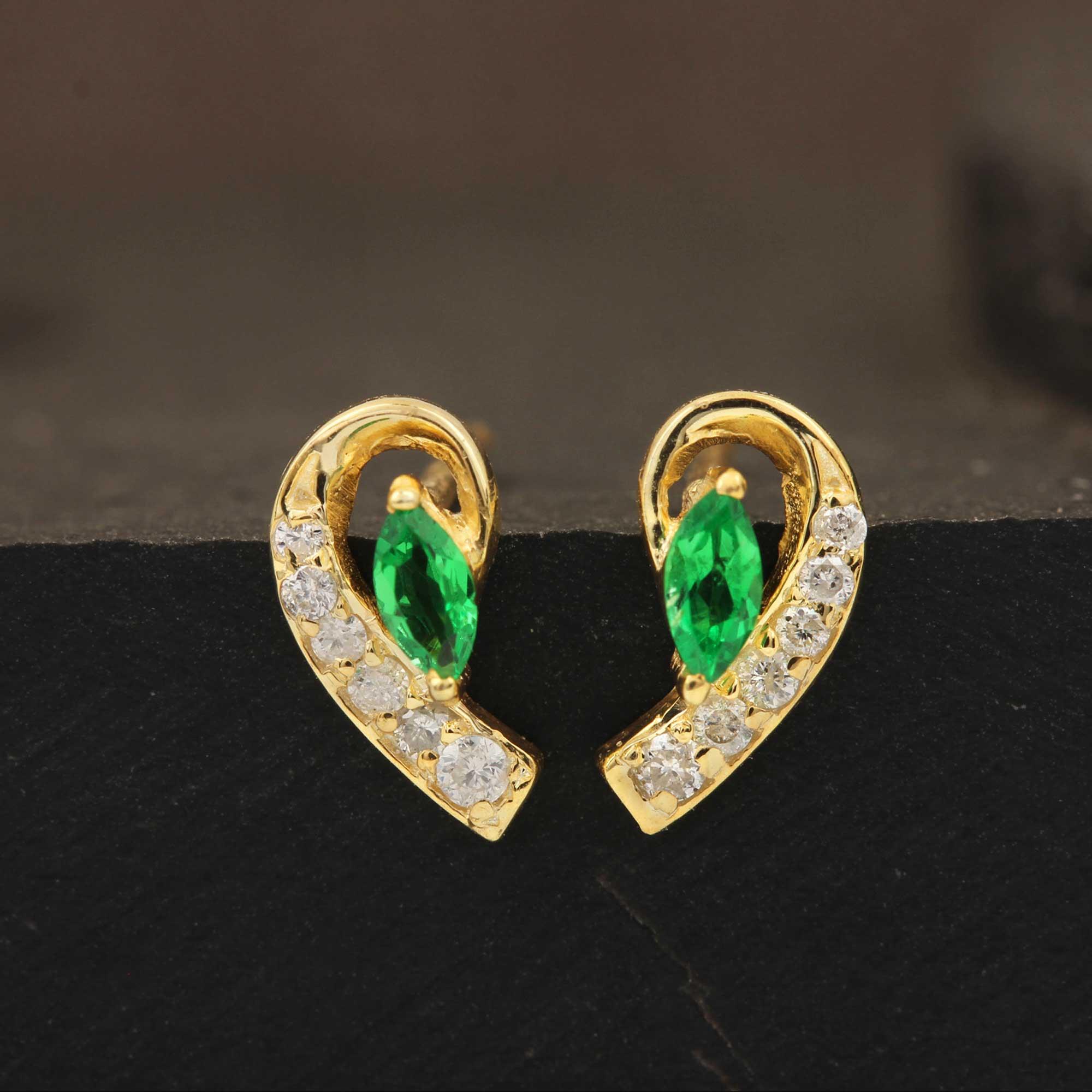 14k Solid Gold Stud Earrings Adorned With Diamond & Tsavorite Gemstone