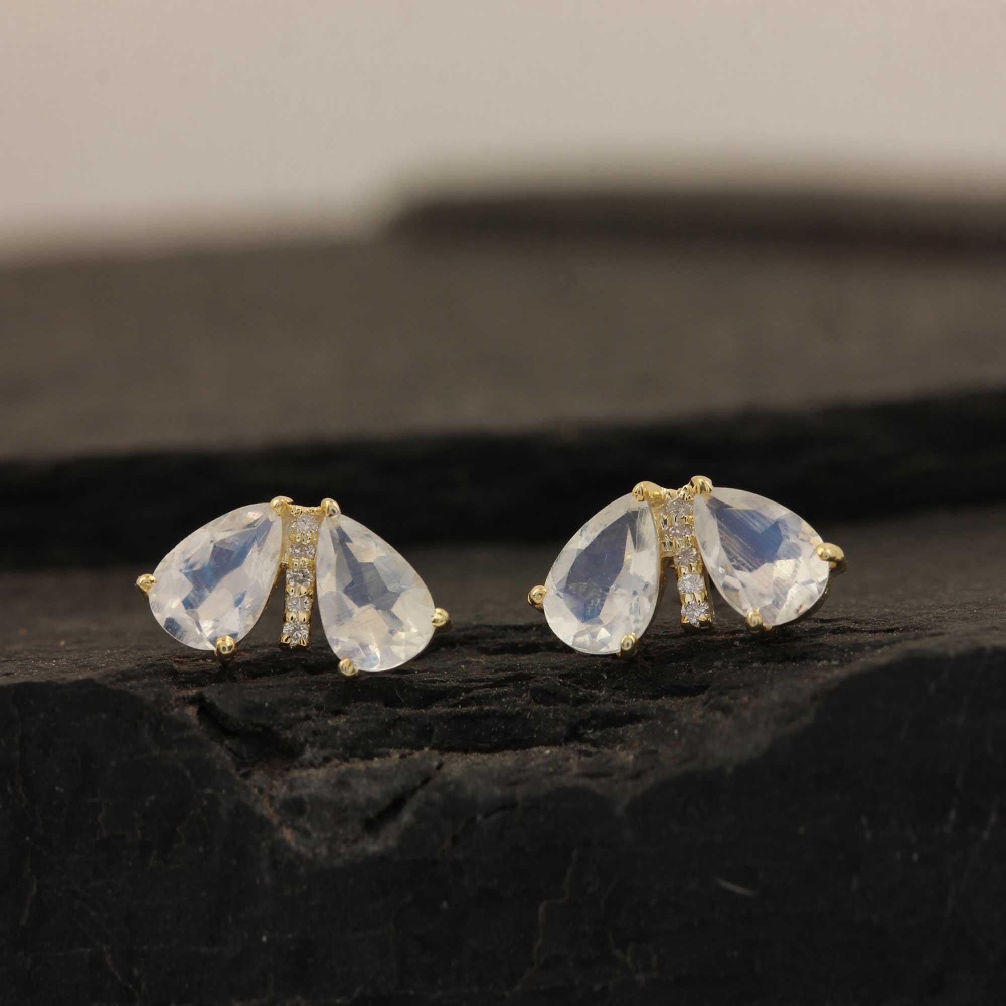 Solid 14k Gold Diamond Natural 1.38ct Rainbow Moonstone Stud Earrings