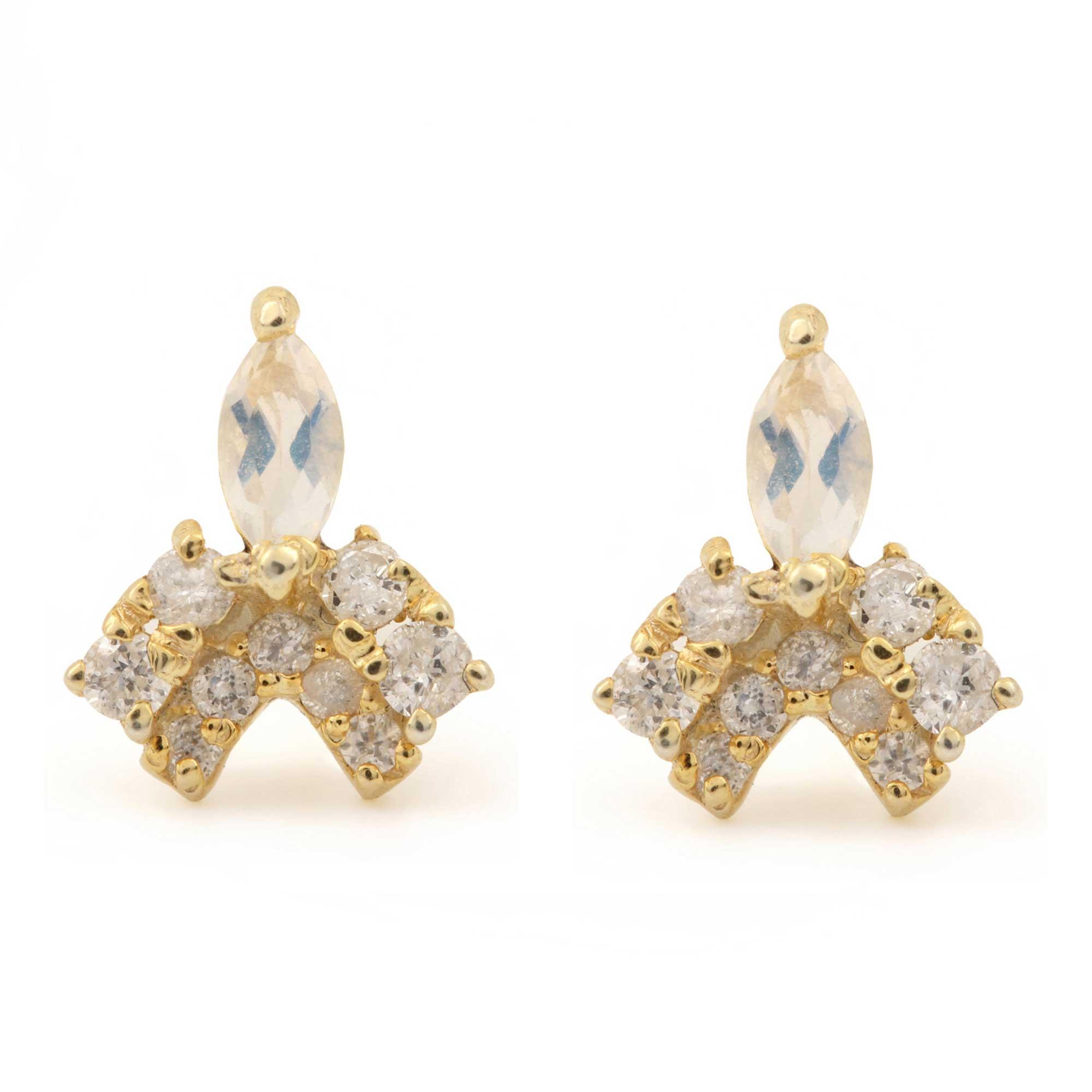 14k Solid Gold Natural Diamond Rainbow Moonstone Minimalist Stud Earrings