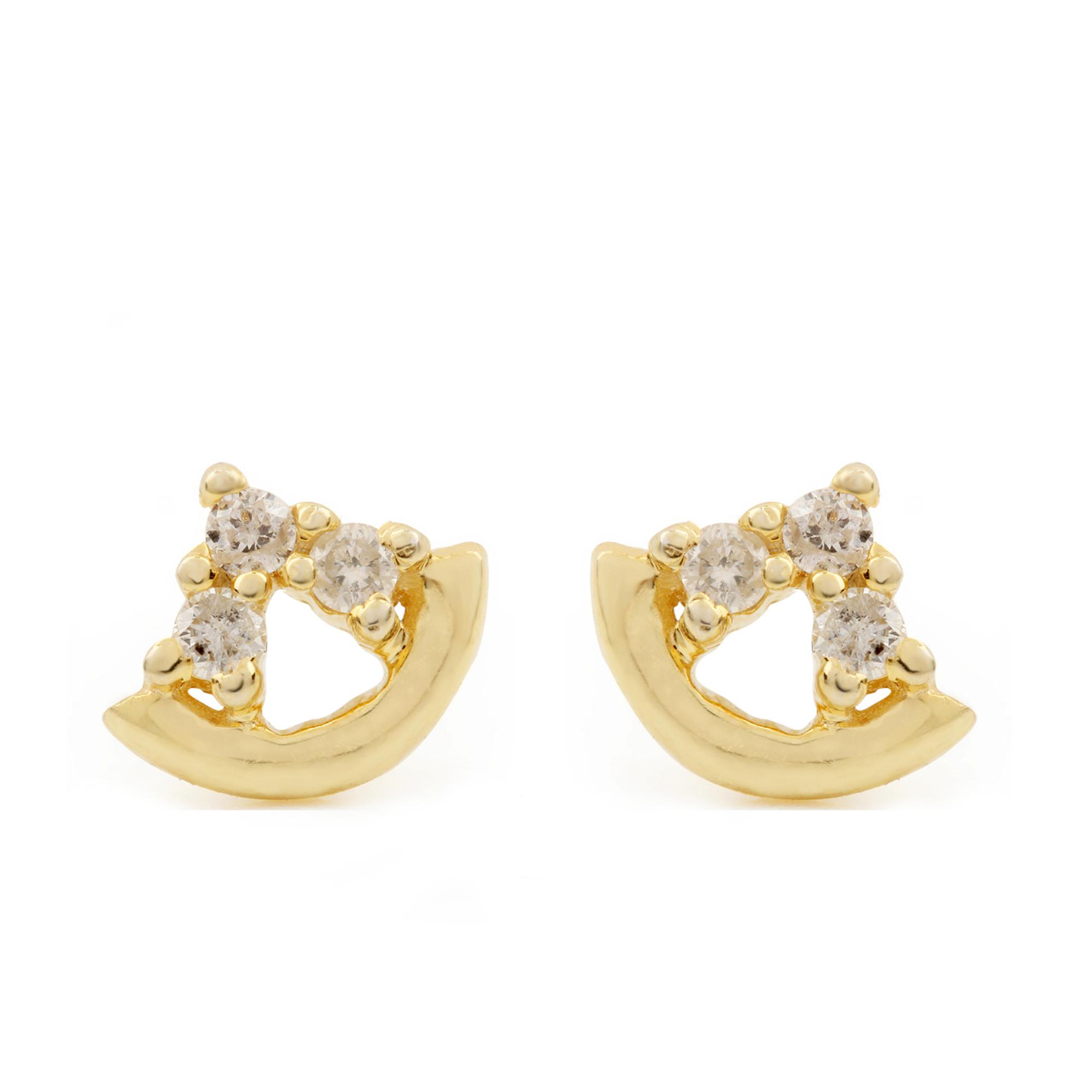 14k Solid Gold Natural Diamond Minimalist Stud Earrings