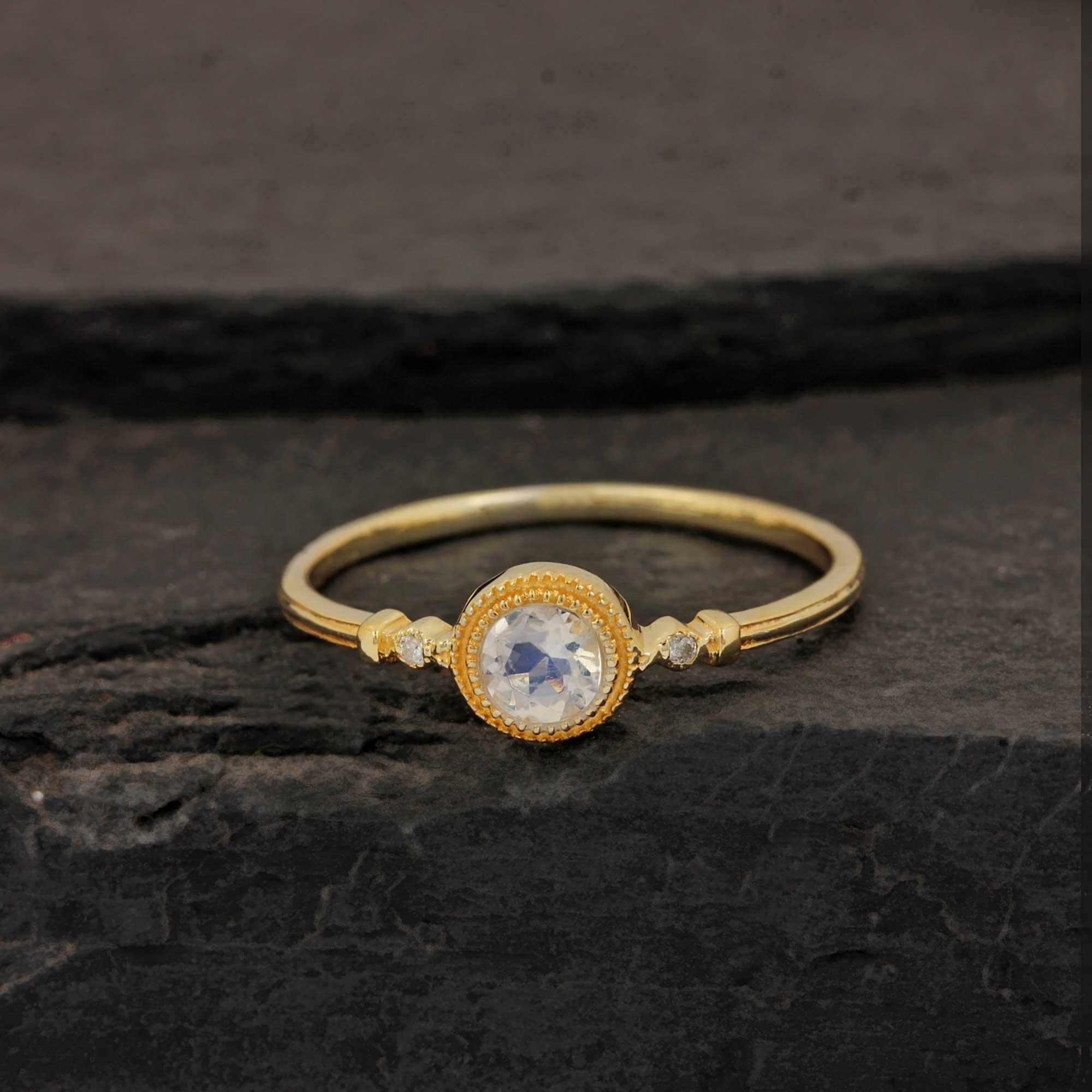 14k Solid Gold Diamond Minimalist Moonstone Ring