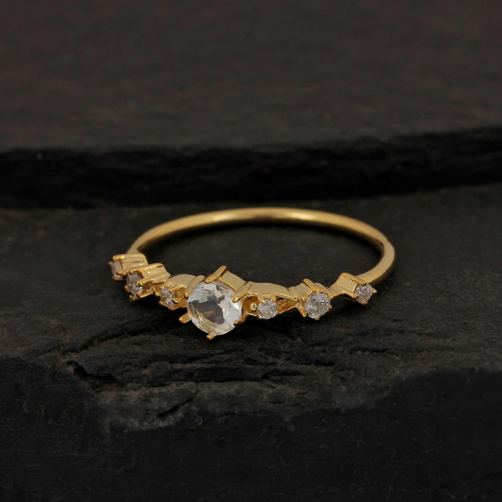 14k Solid Gold Diamond Moonstone Gemstone Ring