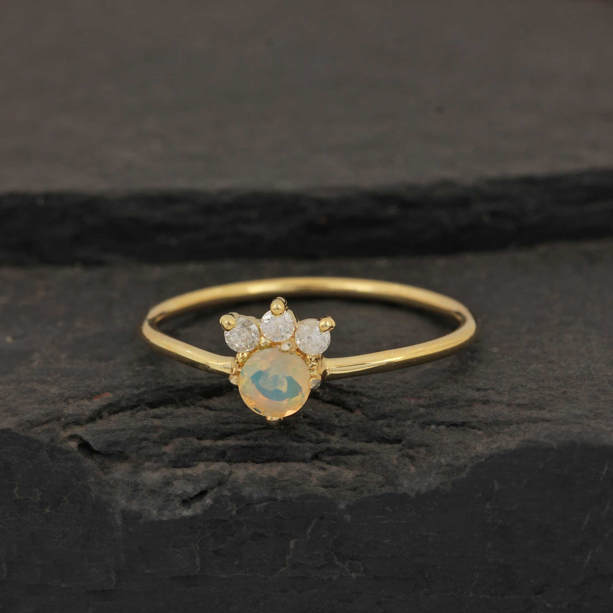 14k Solid Yellow Gold Diamond Opal Ring