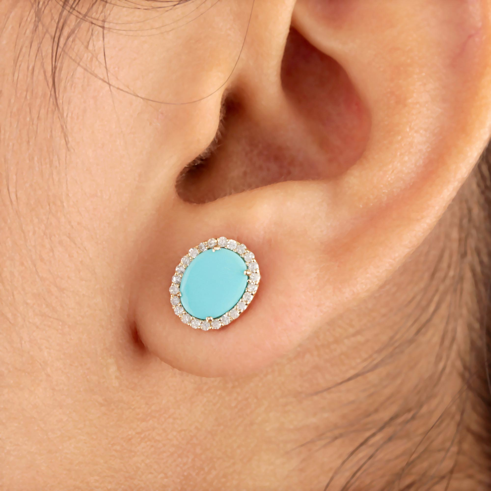 Turquoise Gemstone Stud Earrings 14K Solid Gold Natural Diamond Jewelry