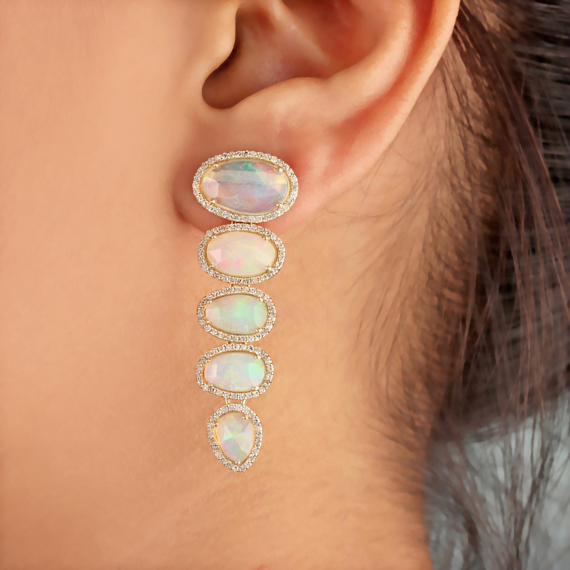 14K Solid Gold Opal Gemstone Dangle Earrings Pave Diamond Jewelry