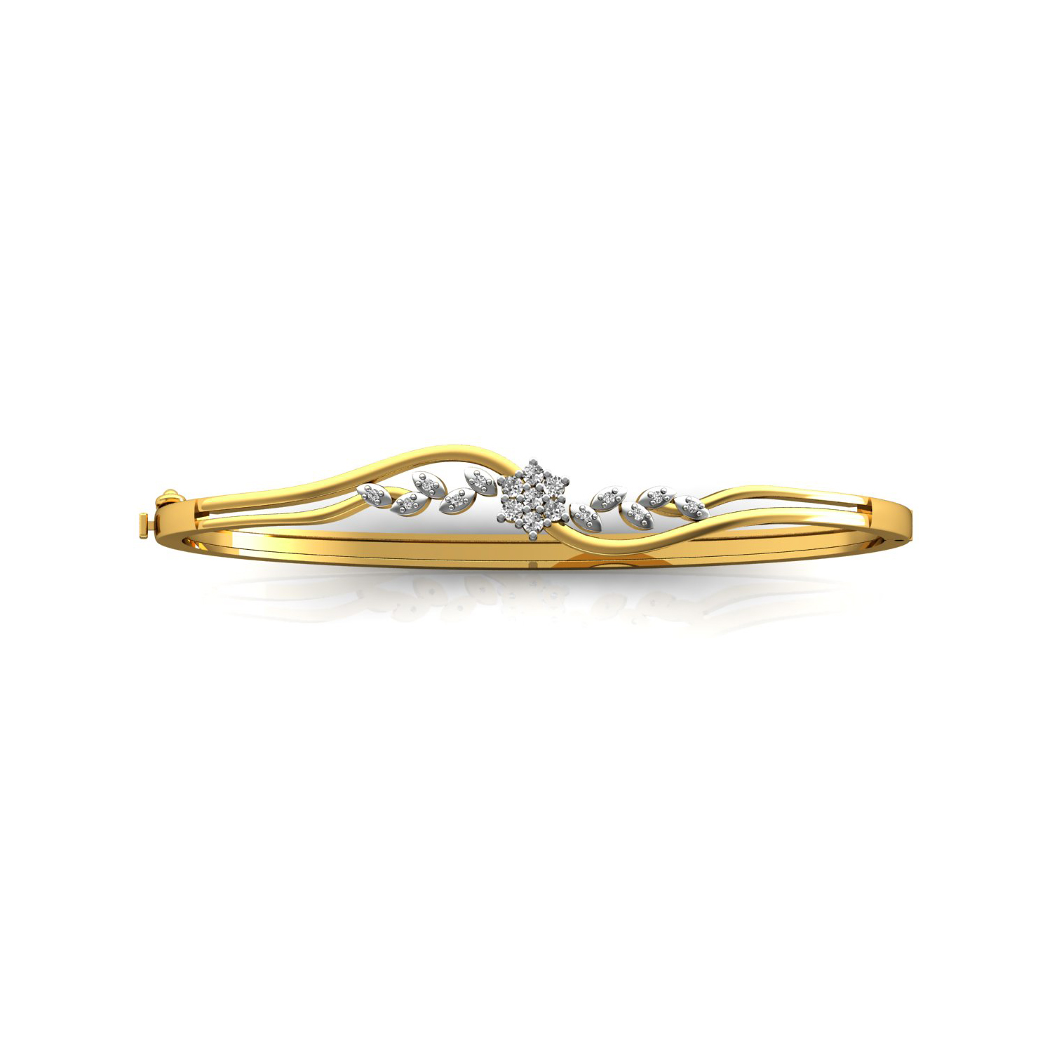 Solid gold real diamond openable bracelet